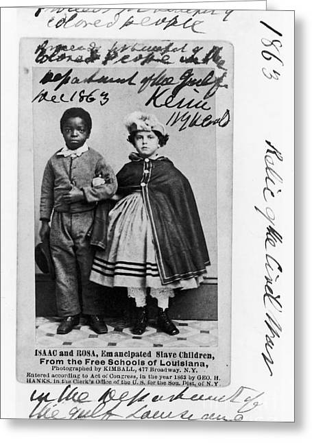 Pantaloons Greeting Cards - Freedmen School, 1863 Greeting Card by Granger
