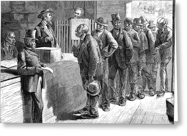 Voting Rights Greeting Cards - Freedmen Voting, 1871 Greeting Card by Granger
