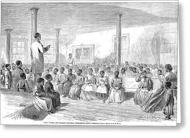 Freedman Greeting Cards - Freedmens School, 1866 Greeting Card by Granger