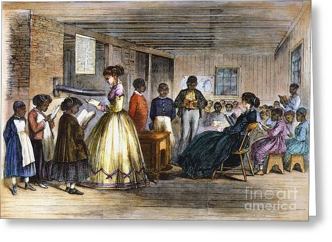 Schoolmistress Greeting Cards - Freedmens School Greeting Card by Granger