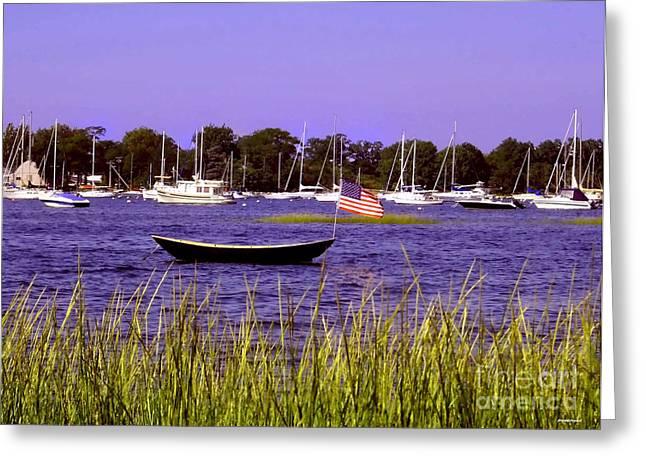 Ocean Scenes Digital Art Greeting Cards - Freedom Bristol harbor Rhode Island Greeting Card by Tom Prendergast