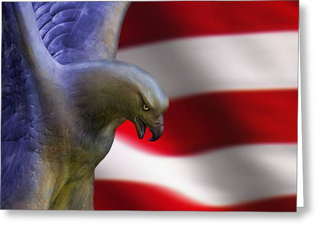 Eagle And Flag Greeting Cards - Freedom Flyer Greeting Card by Anthony Citro