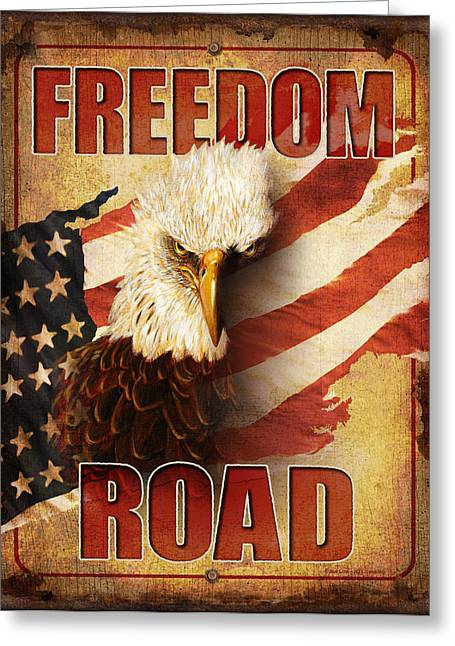Retro Bird Greeting Cards - Freedom Road Sign Greeting Card by JQ Licensing