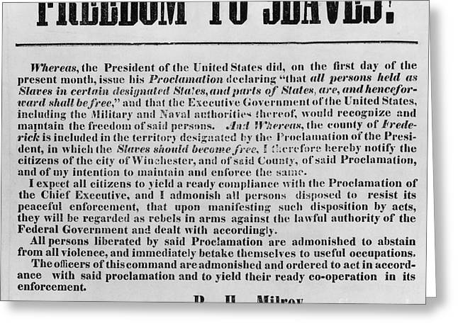 Freedom To Slaves Greeting Card by Photo Researchers