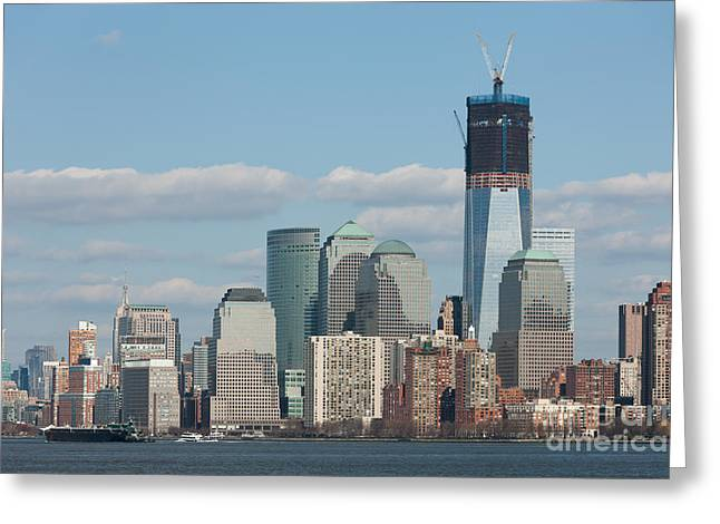 Freedom Tower And Manhattan Skyline II Greeting Card by Clarence Holmes