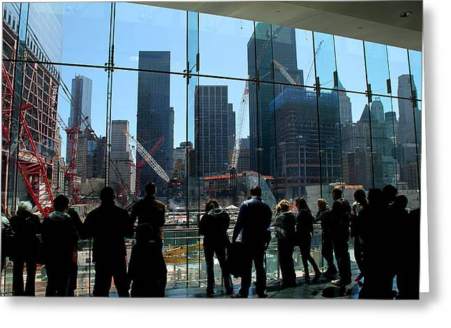 World Trade Centre Greeting Cards - Freedom Tower Spectators Greeting Card by Andrew Fare