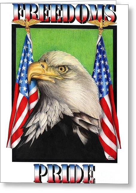 Freedoms Pride Greeting Card by Sheryl Unwin