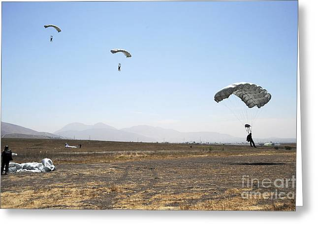 Freefall Parachute Jumpers Approaching Greeting Card by Stocktrek Images