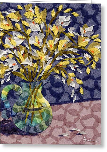 Flower Still Life Tapestries - Textiles Greeting Cards - Freesia Greeting Card by Marina Gershman
