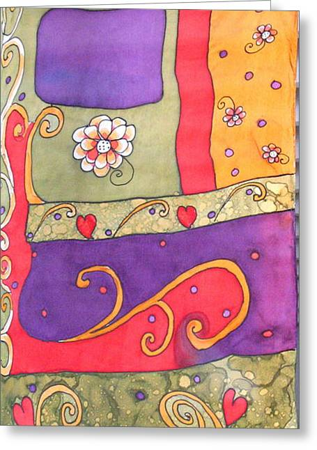 Hand Tapestries - Textiles Greeting Cards - Freestyle Pattern Greeting Card by Yvonne Feavearyear