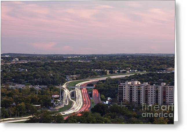 Blurr Greeting Cards - Freeway at Night Greeting Card by Jeremy Woodhouse