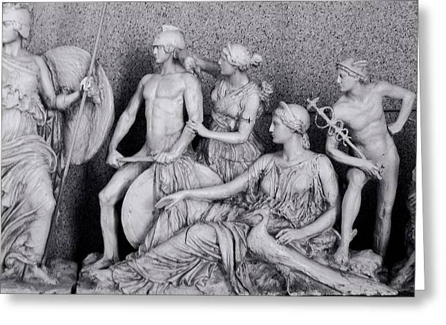 Greek Sculpture Greeting Cards - Freeze from Parthenon 3 BW Greeting Card by Linda Phelps