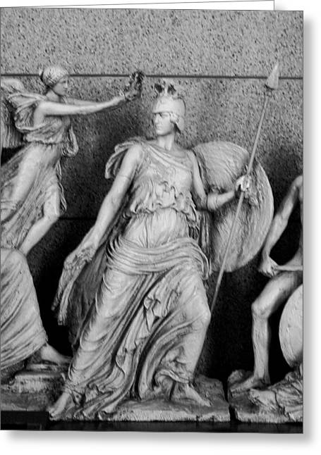Sheild Greeting Cards - Freezr from Parthenon 2 BW Greeting Card by Linda Phelps