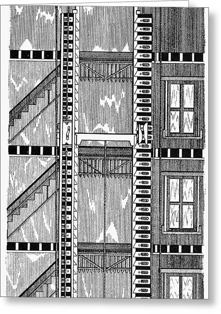 1876 Greeting Cards - Freight Elevator, 1876 Greeting Card by Granger