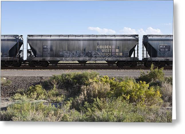 Freight Transportation Greeting Cards - Freight Train Containers Greeting Card by Paul Edmondson
