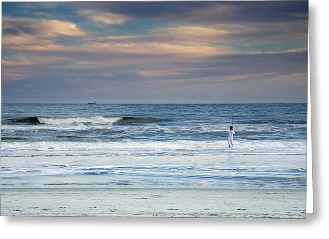 Lowcountry Greeting Cards - Freighter And The Fisherman Greeting Card by Phill  Doherty