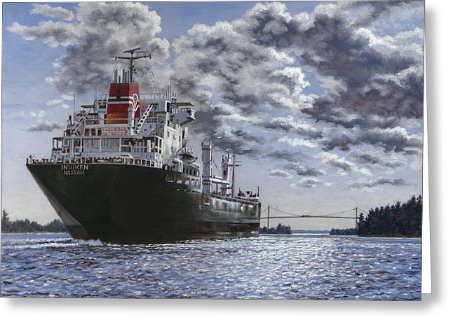 Steam Ship Greeting Cards - Freighter Inviken Greeting Card by Richard De Wolfe