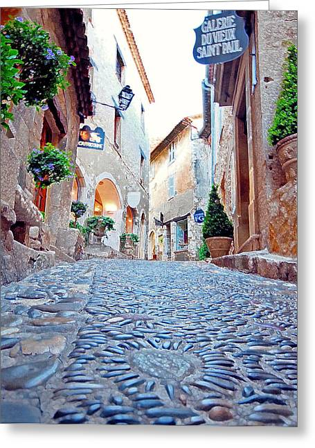Saint Paul De Vence Greeting Cards - French Alley  Greeting Card by Nian Chen