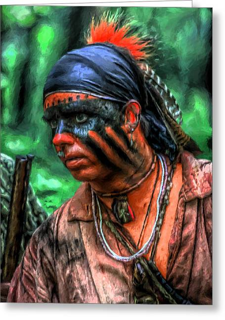 Powder Mixed Media Greeting Cards - French and Indian War Indian Warrior Greeting Card by Randy Steele