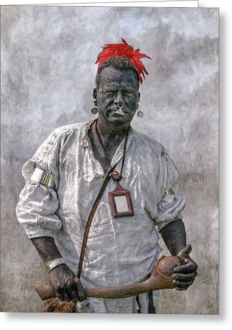 Six Nations Greeting Cards - French and Indian War Reenactor Portrait One Greeting Card by Randy Steele