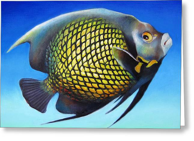 French Angelfish With Attitude Greeting Card by Nancy Tilles