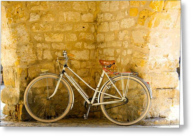Vintage Bicycle Photographs Greeting Cards - French Bicycle Greeting Card by Nomad Art And  Design