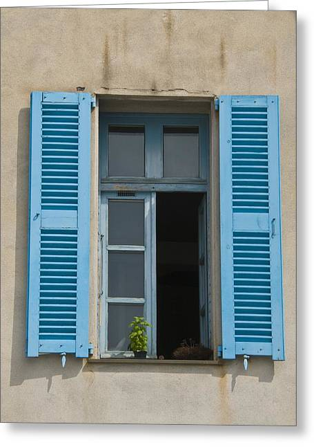 Villefranche Greeting Cards - French Bleu Shutters Greeting Card by Richard Henne