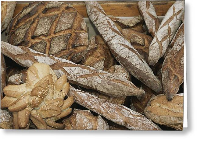 World Of Food Greeting Cards - French Breads At A Bazaar In Provence Greeting Card by Nicole Duplaix
