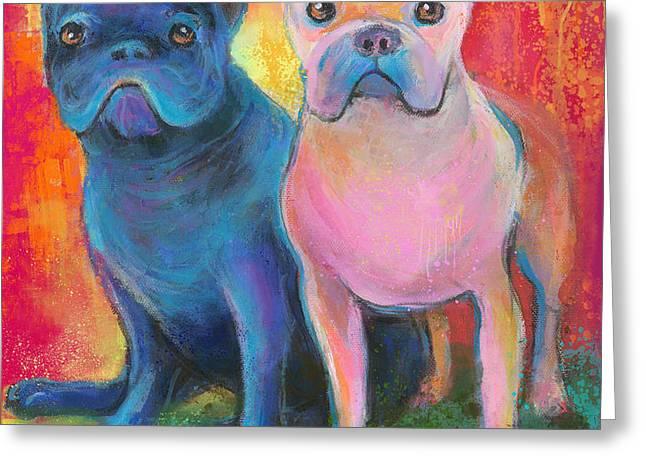 French Bulldog dogs white and black painting Greeting Card by Svetlana Novikova