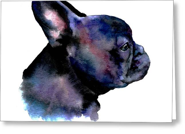 Bulldog Pet Portraits Greeting Cards - French Bulldog Portrait Greeting Card by Christy  Freeman