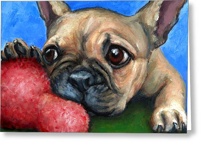 Draco Greeting Cards - French Bulldog Puppy with Toy Greeting Card by Dottie Dracos