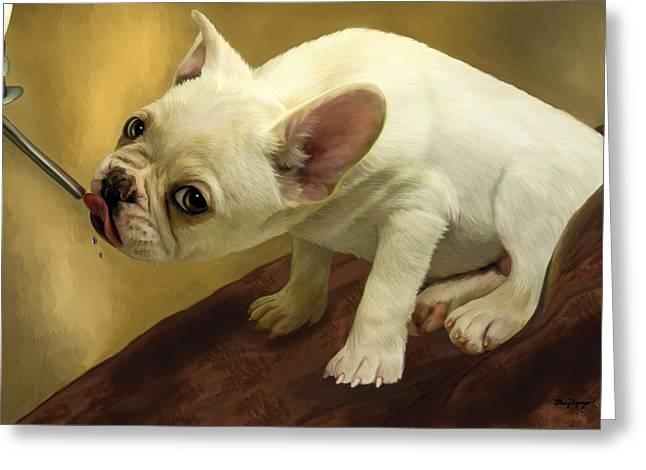 Puppy Digital Art Greeting Cards - French Bulldog  Greeting Card by Thanh Thuy Nguyen