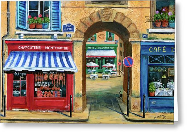 Umbrella Greeting Cards - French Butcher Shop Greeting Card by Marilyn Dunlap