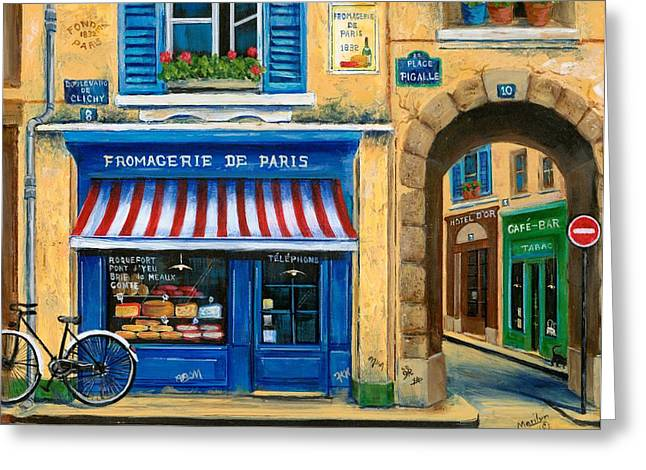 Street Scenes Paintings Greeting Cards - French Cheese Shop Greeting Card by Marilyn Dunlap