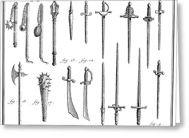 FRENCH CHIVALRIC WEAPONS Greeting Card by Granger