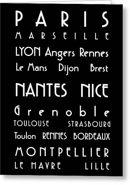 French Map Greeting Cards - French Cities - Bus Roll Style Greeting Card by Nomad Art And  Design