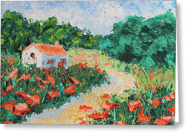 Pallet Knife Mixed Media Greeting Cards - French Cottage Greeting Card by Courtney Hancock