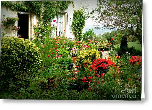 French Cottage Garden Greeting Card by Lainie Wrightson