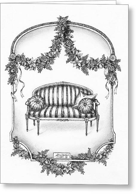 Pen And Paper Greeting Cards - French Country Sofa Greeting Card by Adam Zebediah Joseph