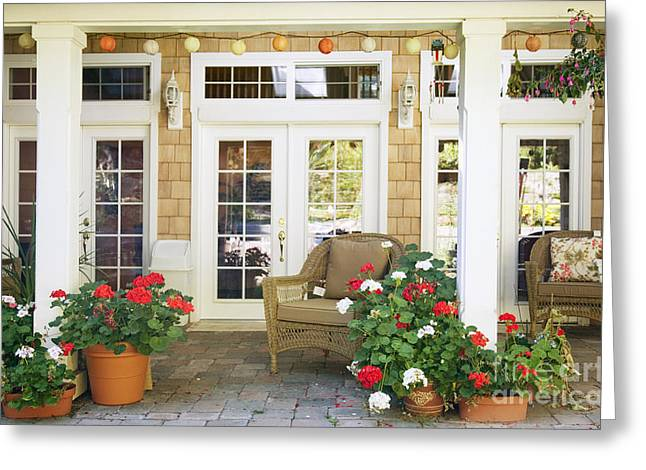 French Door Greeting Cards - French Doors and Patio Greeting Card by Andersen Ross