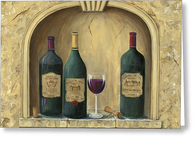 Glass Of Wine Paintings Greeting Cards - French Estate Wine Collection Greeting Card by Marilyn Dunlap