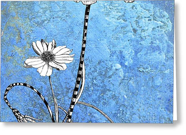 French Floral on Blue Abstract Greeting Card by Anahi DeCanio