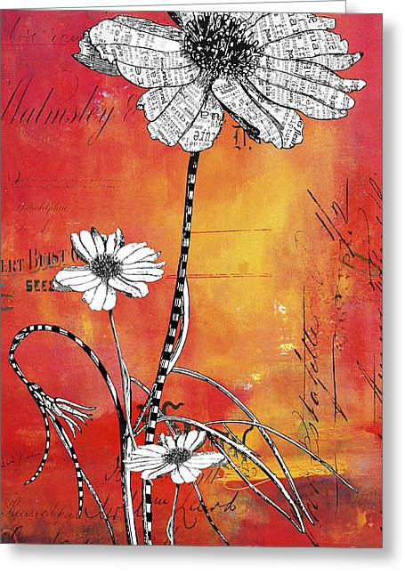 Teen Licensing Greeting Cards - French Floral Typography Abstract Greeting Card by Anahi DeCanio