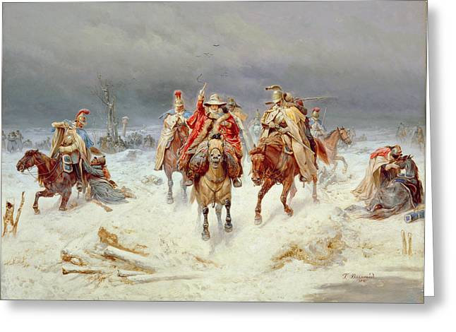Defeated Greeting Cards - French Forces Crossing the River Berezina in November 1812 Greeting Card by Bogdan Willewalde