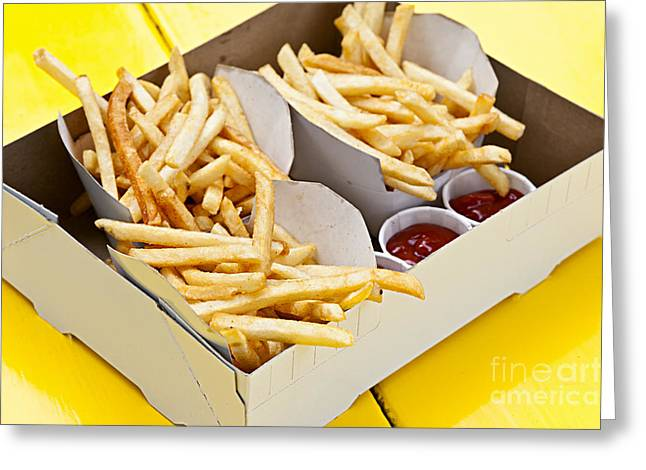 Portion Greeting Cards - French fries in box Greeting Card by Elena Elisseeva