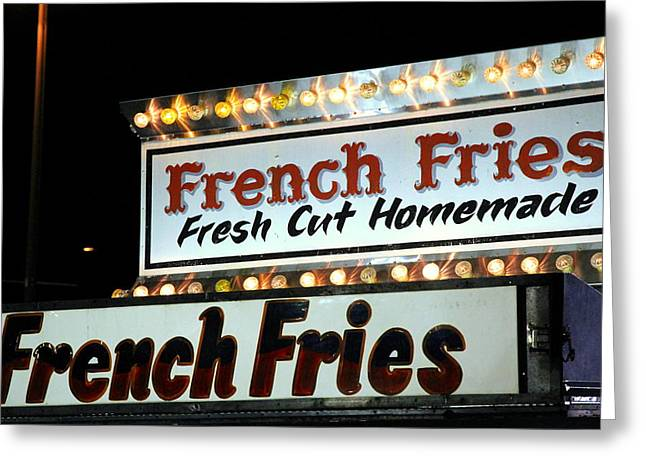 French Fries Greeting Cards - French Fries Sign Greeting Card by Valentino Visentini