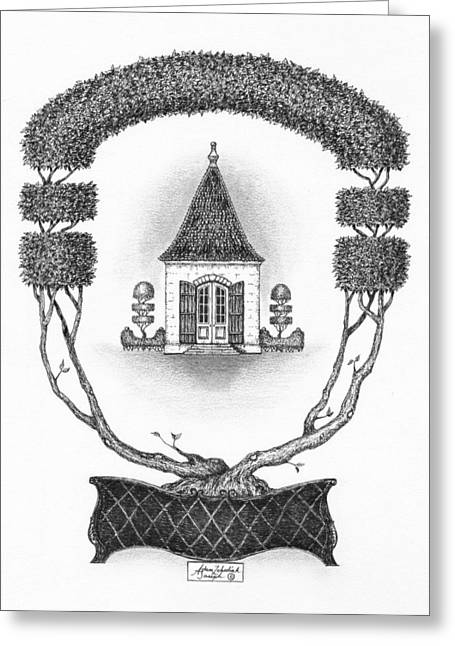 Pen And Paper Drawings Greeting Cards - French Garden House Greeting Card by Adam Zebediah Joseph