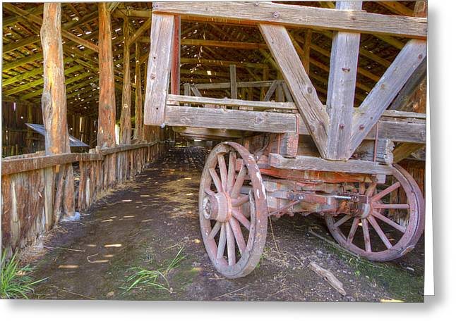 Wood Wheel Greeting Cards - French Glen Barn Greeting Card by Jean Noren