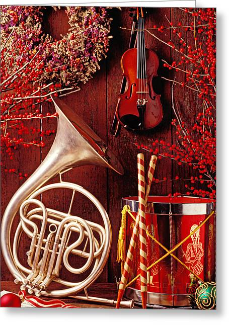 French Greeting Cards - French horn Christmas still life Greeting Card by Garry Gay