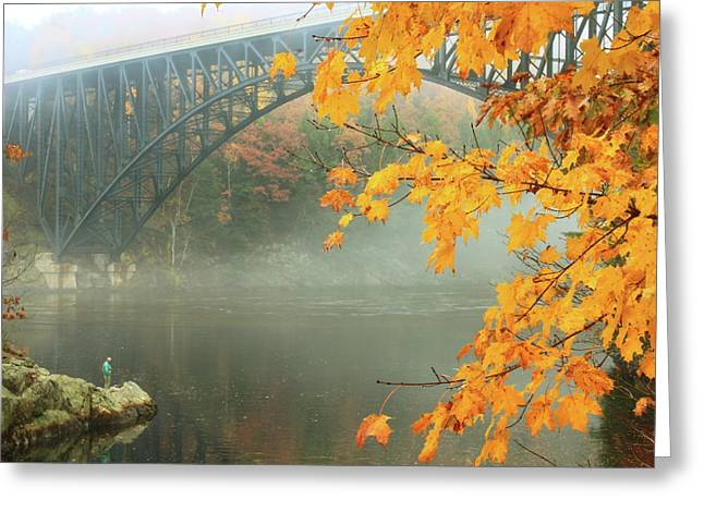 Connecticut River Greeting Cards - French King Bridge Autumn Fisherman Greeting Card by John Burk